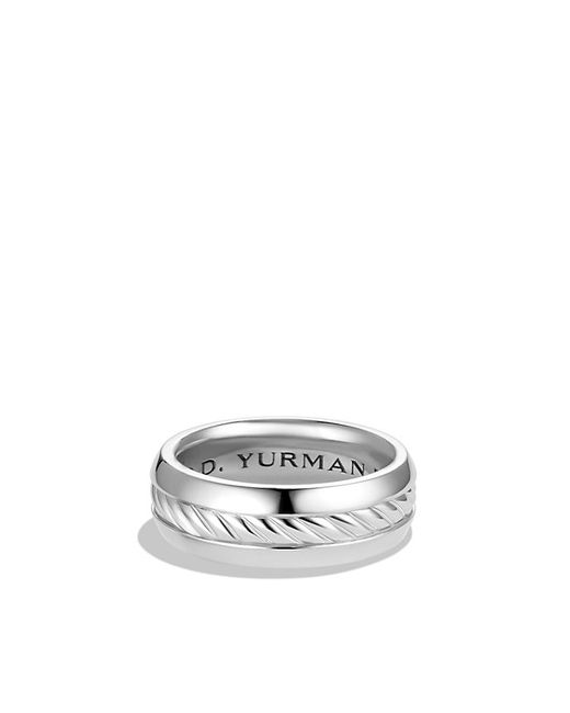 David Yurman | White Cable Classics Inset Band Ring In Platinum, 8mm for Men | Lyst