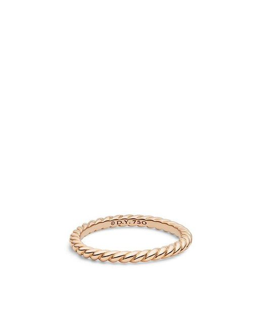David Yurman | Pink Dy Unity Cable Wedding Band In 18k Rose Gold, 2mm | Lyst