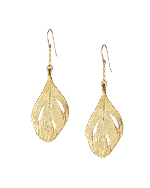 Chupi | Metallic Maxi Swan Feather Earrings Gold | Lyst