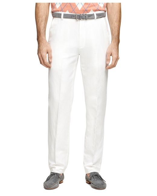 Brooks Brothers | White Clark Fit Linen And Cotton Pants for Men | Lyst