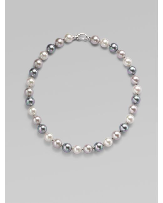 Majorica | 12mm Multicolor Round Pearl & Sterling Silver Strand Necklace/17 | Lyst