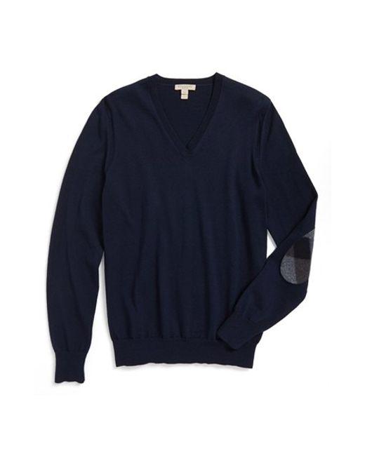 Burberry Brit | Blue 'dockley' V-neck Wool Sweater for Men | Lyst