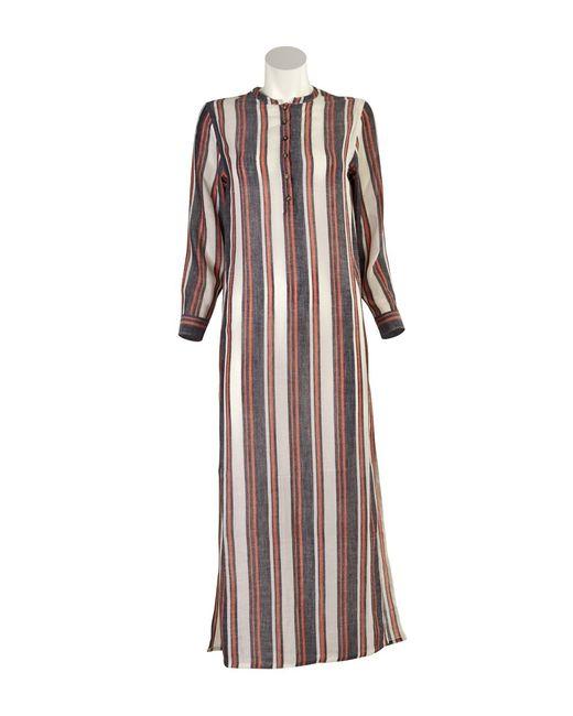 Denis colomb vertical striped cotton cashmere shirt dress for Vertical striped dress shirt