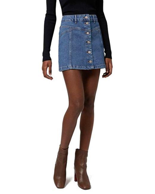 topshop button front denim mini skirt in blue mid denim