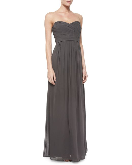 Monique Lhuillier   Gray Strapless Ruched-bodice Gown   Lyst