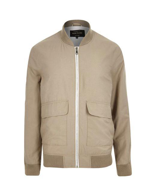 river-island-beige-stone-beige-bomber-jacket-product-4-208430158 ...