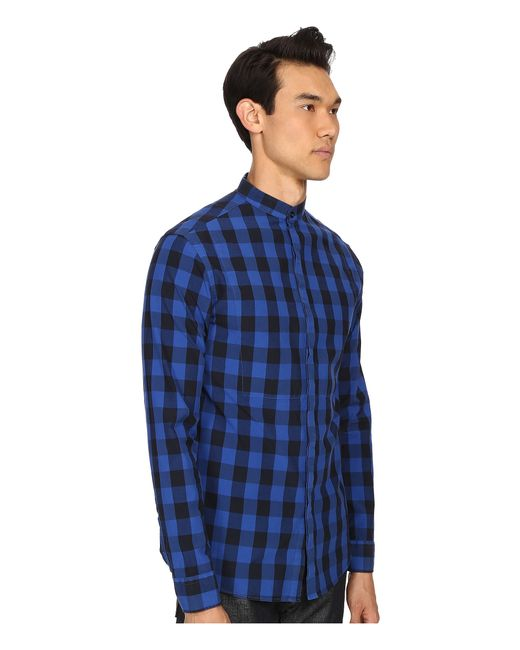 Balmain plaid button up shirt in blue for men save 51 for Royals button up shirt
