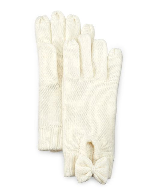 Kate Spade | Natural Gathered Bow Knit Gloves | Lyst