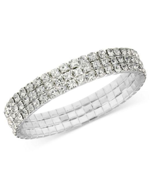 2028 | Metallic Silver-tone Clear Crystal Stretch Bracelet | Lyst