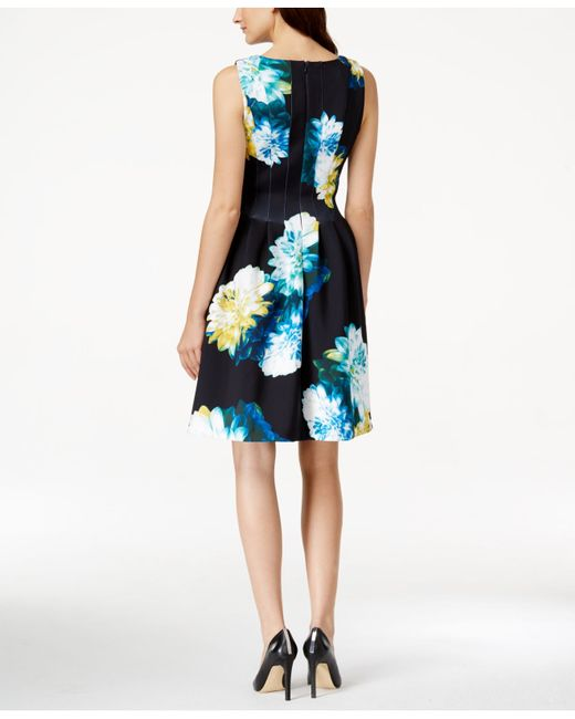 Calvin Klein Floral Print Fit Amp Flare Dress In Blue Save