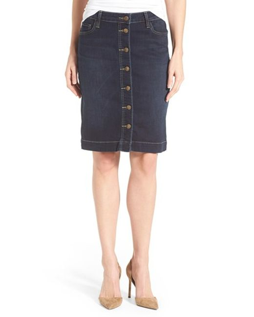 kut from the kloth rosie button front denim skirt in