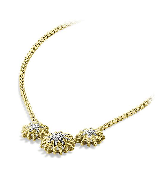 David Yurman | Metallic Starburst Necklace With Diamonds In 18k Gold | Lyst