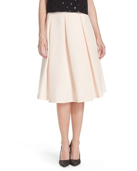 eliza j pleated faille midi skirt in pink blush save