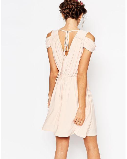 Asos wedding drape cold shoulder mini dress in beige nude for Cold shoulder dresses for wedding