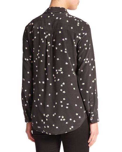 Equipment starry night slim signature silk shirt in black for Equipment black silk shirt