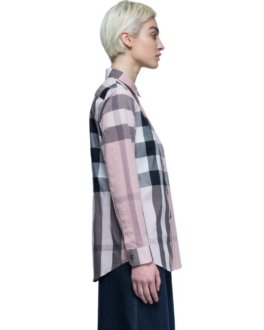 Burberry Check Shirt Long Sleeves In Pink Lyst