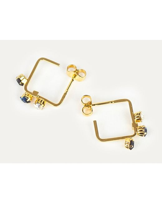 Sabrina Dehoff | Metallic Creole Earrings With Crystals | Lyst