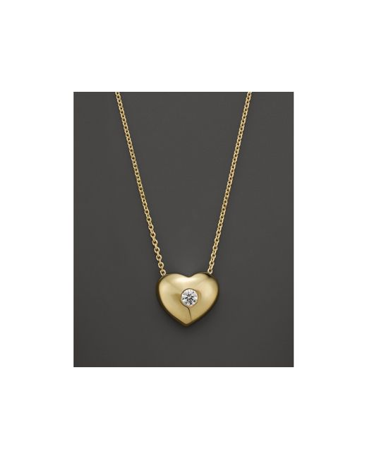 KC Designs | White Small Diamond Solitaire Heart Pendant Necklace In 14k Yellow Gold, .10 Ct. T.w. | Lyst