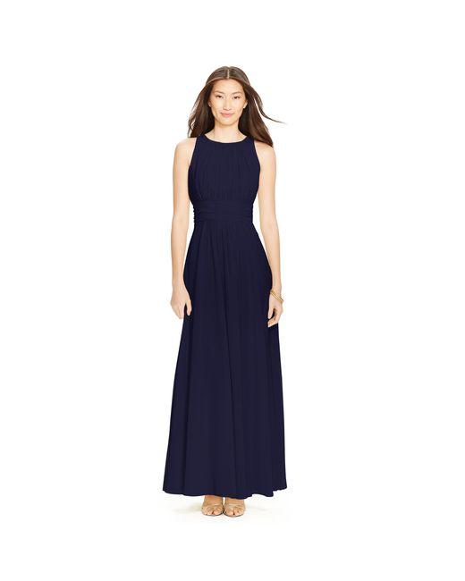 Pink Pony | Blue Shirred-waist Georgette Gown | Lyst