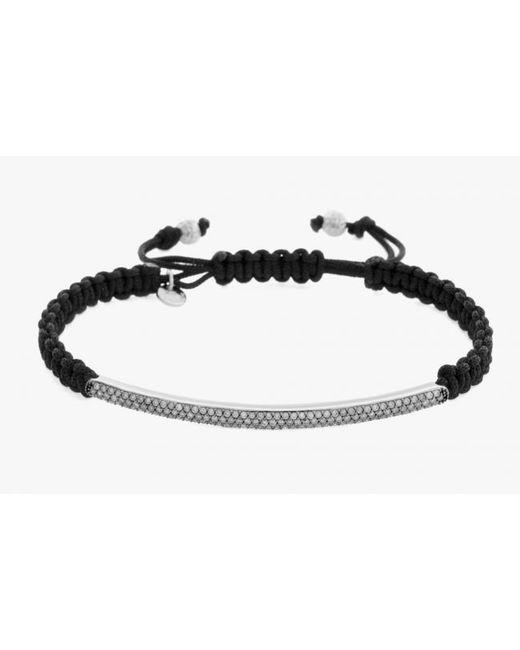 Tateossian | Micro Pavé Macramé Bracelet With White Diamonds On A Silver Panel for Men | Lyst
