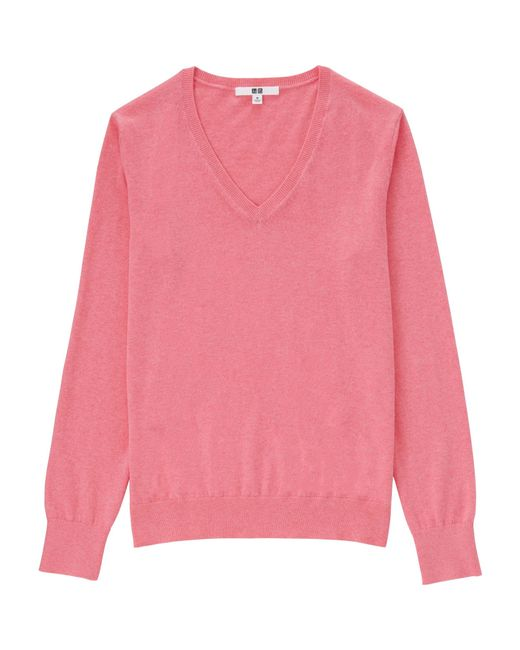 b82d9769df1 Uniqlo Women Cotton Cashmere V-neck Sweater in Pink - Save .