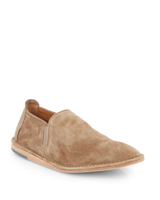 vince nico suede slip on shoes in beige for flint lyst