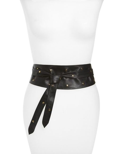 ada studded leather wrap belt in black lyst