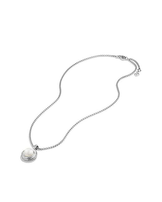 David Yurman | White Pearl Crossover Pendant Necklace With Diamonds | Lyst