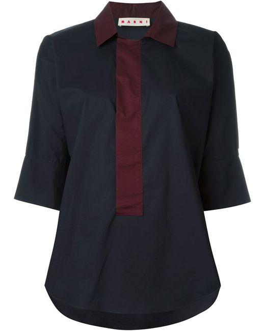 Marni Three Quarter Length Sleeve Shirt In Red Blue