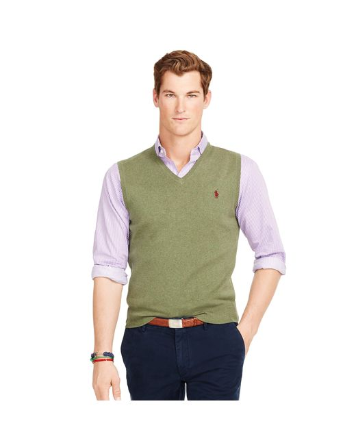 Polo Ralph Lauren | Green Pima Cotton V-neck Vest for Men | Lyst