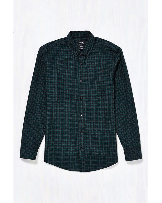 Publish javi basketweave button down shirt in green for for Custom pattern button down shirts