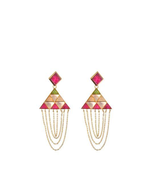 Isharya | Red Pyramid Quartz Drape Earrings | Lyst