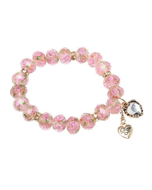 Betsey Johnson | Tzarina Pink Beads Stretch Bracelet | Lyst