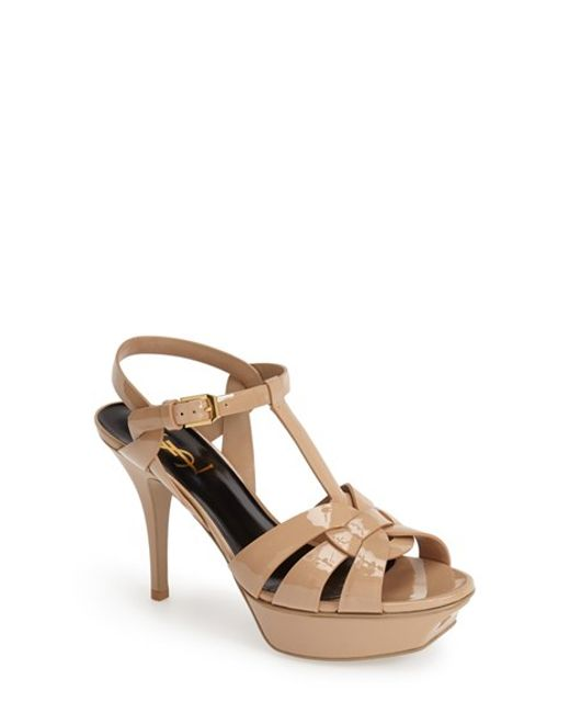 Saint Laurent | Natural 'Tribute' T-Strap Sandal | Lyst