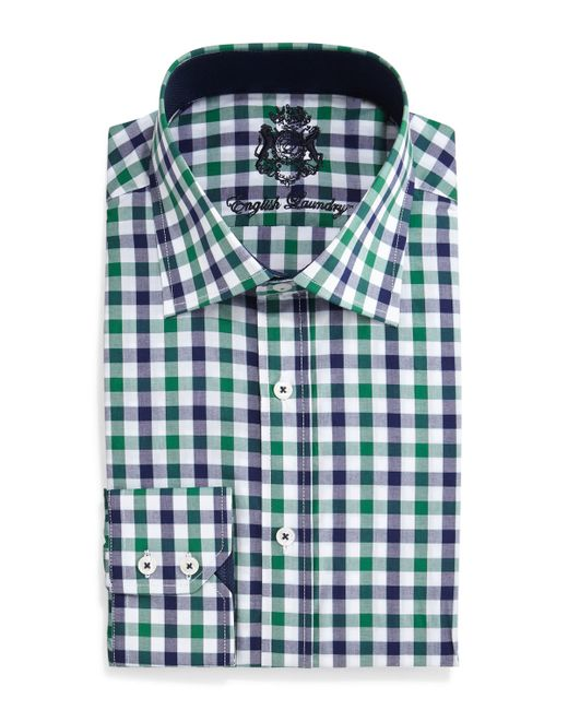 English Laundry Gingham Check Dress Shirt In Pink For Men