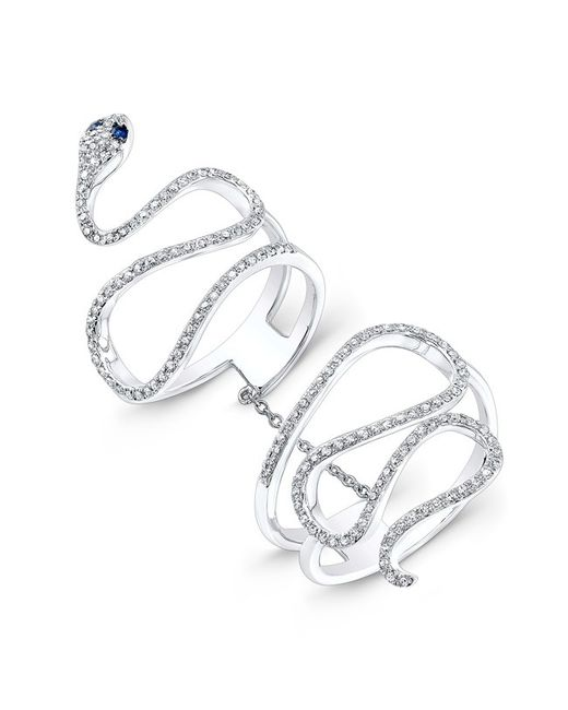 Anne Sisteron - 14kt White Gold Diamond Blue Sapphire Snake Connector Ring - Lyst