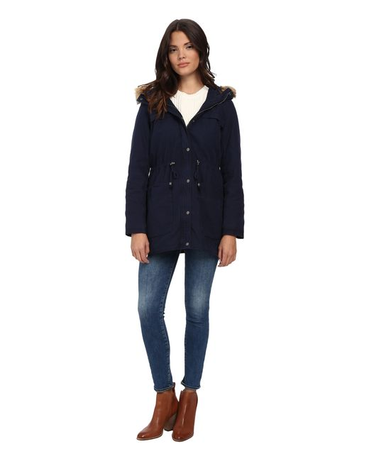 Levi's | Blue Washed Cotton Fashion Heavyweight Parka W/ Sherpa Lining And Fur Hood | Lyst