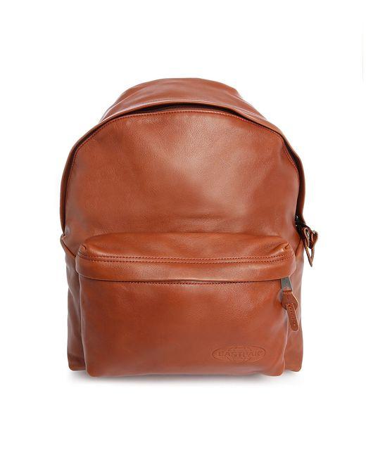 Leather Eastpak Backpack: Eastpak Brown Leather Padded Pak'r 24l Backpack In Brown