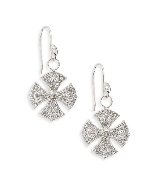 Jude Frances | Metallic White Sapphire & Sterling Silver Maltese Drop Earrings | Lyst