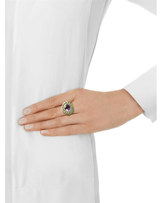 Jade Jagger   Multicolor Amethyst, Emerald & Gold-Plated Ring   Lyst