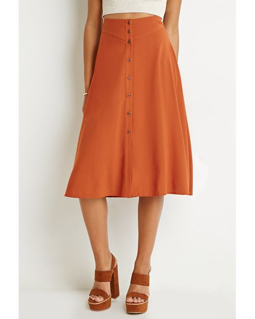 Forever 21 | Orange Button-front A-line Skirt | Lyst