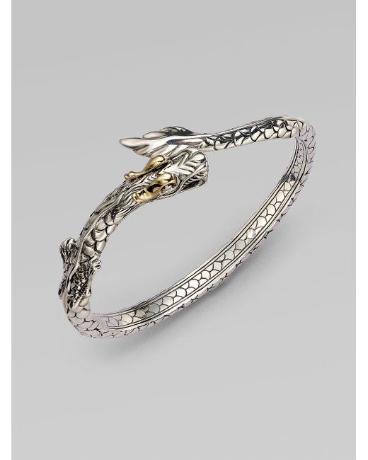 John Hardy | Metallic 18k Yellow Gold Sterling Silver Dragon Bangle Bracelet | Lyst
