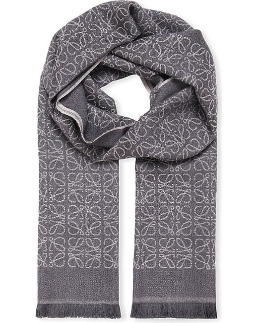 Loewe   Gray Anagram Jacquard Wool Scarf   Lyst