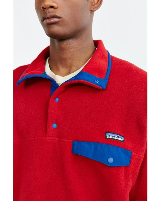 patagonia synchilla snapt fleece pullover jacket in red