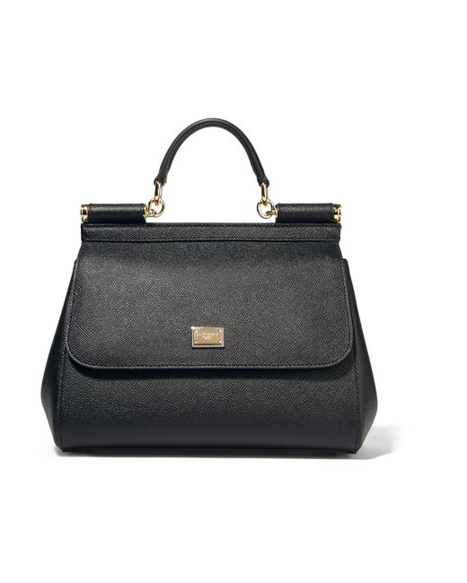 Dolce & Gabbana | Black Medium Sicily Dauphine Leather Bag | Lyst