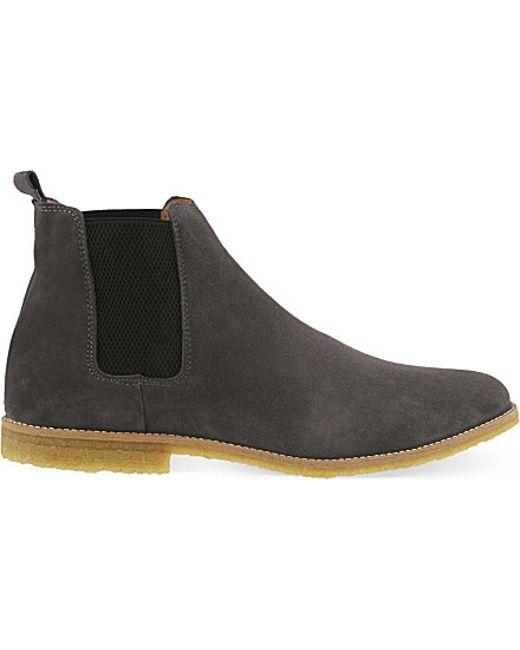 kg by kurt geiger reggie suede chelsea boots in gray for men lyst. Black Bedroom Furniture Sets. Home Design Ideas