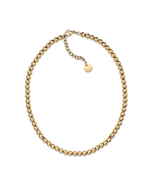 Tommy Hilfiger - Metallic Ladies Stainless Steel, Gold Ip Beaded Necklace - Lyst