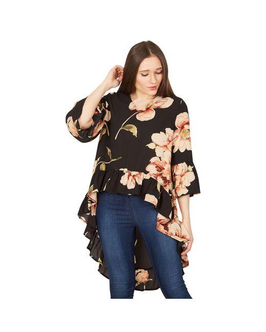 Izabel London - Black Bell Sleeve Floral Print Top - Lyst