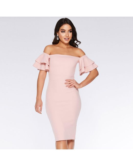 3525533651 Quiz Dusky Pink Bardot Double Frill Midi Dress in Pink - Lyst