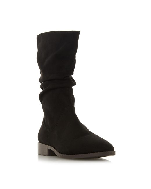 Dune Black 'reagan' Block Heel Calf Boots